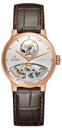 Rado Centrix Open Heart Automatic Leather Strap Watch, 33mm