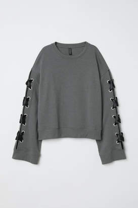 H&M Sweatshirt with Lacing - Green
