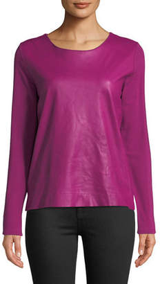 Neiman Marcus Majestic Paris for Leather-Front Long-Sleeve Top