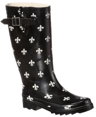 Boots Womens Fleur-De-Lis Rain Black