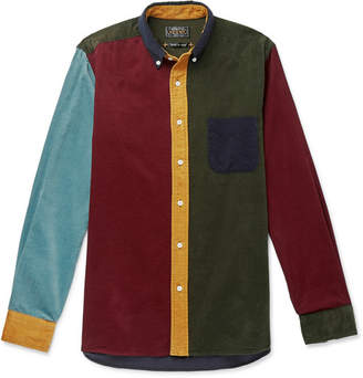 Beams Button-Down Collar Colour-Block Cotton-Corduroy Shirt