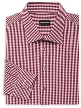 Giorgio Armani Checkered Cotton Button-Down Shirt