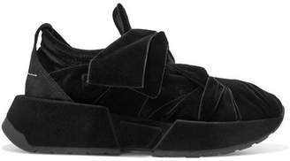 MM6 MAISON MARGIELA Suede-trimmed Velvet Sneakers - Black