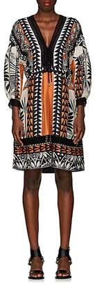 Alberta Ferretti Women's Geometric-Print Silk V-Neck Dress