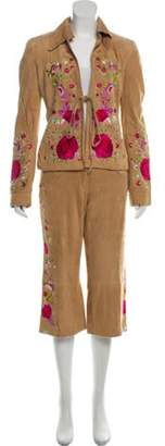 Dolce & Gabbana Suede Embroidered Pantsuit magenta Suede Embroidered Pantsuit