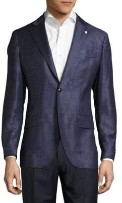 Lubiam Notch-Lapel Check Wool Jacket