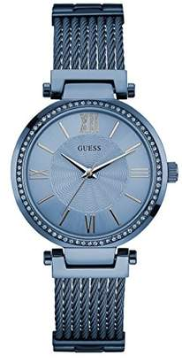 GUESS Women's Stainless Steel Crystal Accented Wire Bangle Bracelet Watch