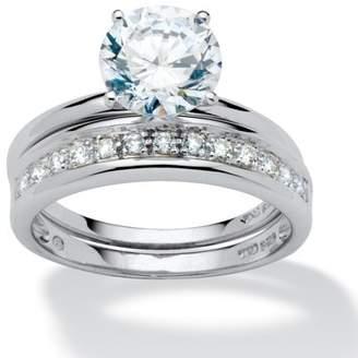 PalmBeach Jewelry Palm Beach Jewelry 2.20 TCW Round Cubic Zirconia Wedding Ring Set in Platinum over Sterling Silver