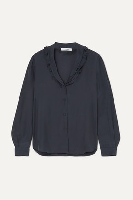 Frame Lettuce Collar Ruffled Washed-silk Blouse - Navy