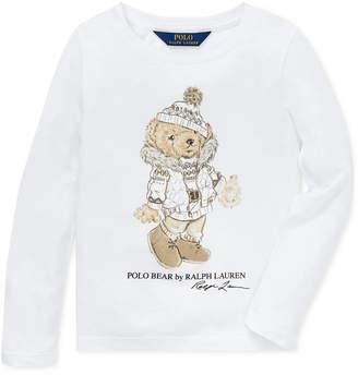 Polo Ralph Lauren Little Girls Holiday Bear Long-Sleeve Cotton T-Shirt