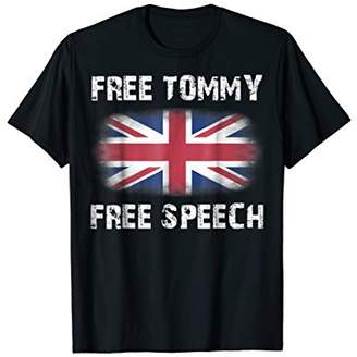 Free Tommy Robinson Shirt - Free Speech with UK Flag T-Shirt