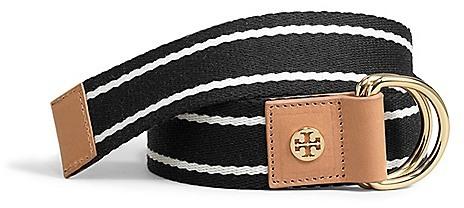 Tory Burch Striped Webbing Belt