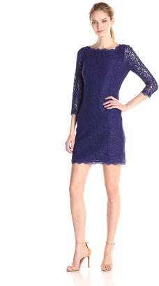 Adrianna Papell Women's Petite 3/4 Sleeve Lace Dress