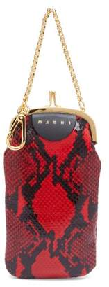 Marni Python Effect Leather Clutch Bag - Womens - Red