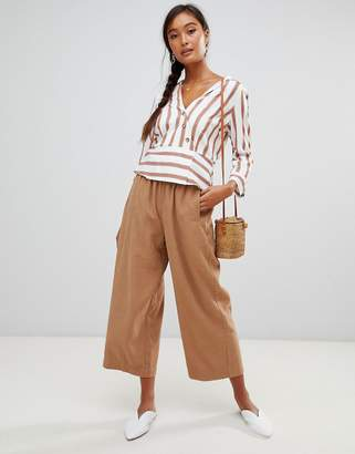 Miss Selfridge cropped wide leg pants in camel