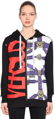 Versus Oversize Zip-Up Printed Sweatshirt