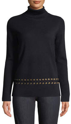 Tory Burch Turtleneck Sweater w/ Grommet Trim