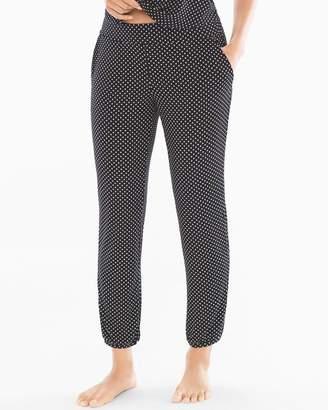 Cool Nights Banded Ankle Pajama Pants Mod Dot Black