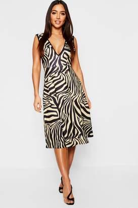 boohoo Zebra Print Plunge Neck Skater Dress