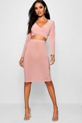 boohoo Petite Wrap Top & Midi Skirt Co-Ord