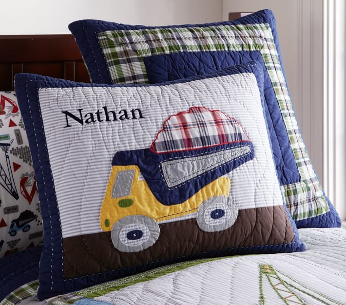 Pottery Barn Kids Busy Builder Construction Quilted Euro Sham