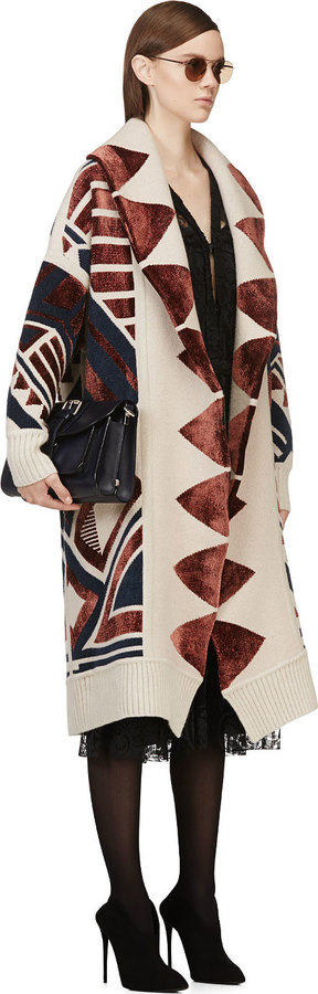 Burberry Burgundy Geometric Jacquard Blanket Coat
