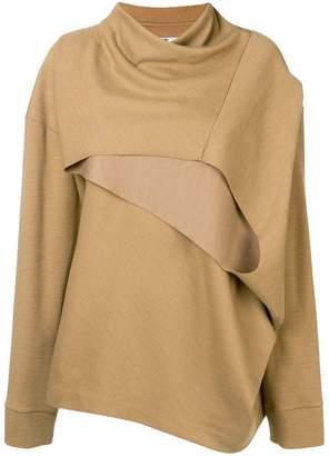 Chalayan angled cut draped sweater