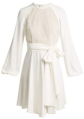 Giambattista Valli Pois Lace And Crepe Mini Dress - Womens - White
