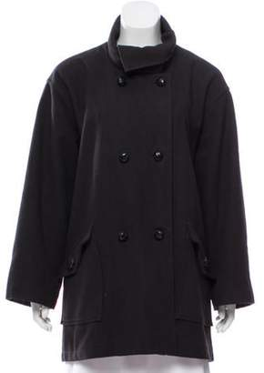 Opening Ceremony Wool Double-Breasted Peacoat Black Wool Double-Breasted Peacoat