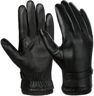 Mens Leather Gloves-Allcaca Men's Texting Touchscreen Winter Warm Leather Daily Dress Driving Gloves