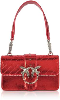 Pinko Mini Love Metallic Quilted Leather Shoulder Bag