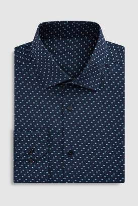 Mens Navy Regular Fit Single Cuff Floral Printed Signature Shirt