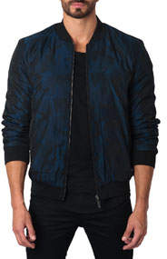 Semi-Fitted New York 1C Camo Bomber Jacket Blue