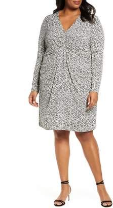 MICHAEL Michael Kors Garden Print Center Ruched Long Sleeve Dress