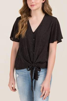 Catiana Button Front Knot Polka Dot Blouse - Black