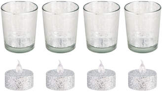 Mikasa Set of 4 Silver Glass Votives