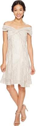 Tahari ASL Petite Wrap Bodice Lace Dress Women's Dress
