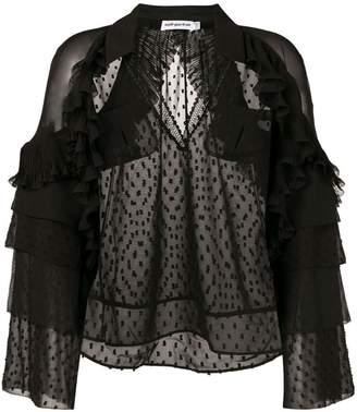 Self-Portrait sheer ruffle blouse