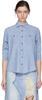R 13 Indigo Overlap Chambray Shirt