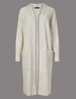Marks and Spencer Wool Blend Textured Longline Cardigan