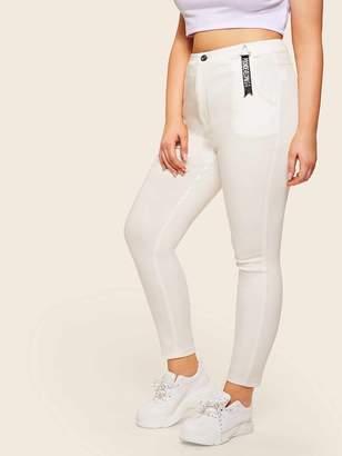 Shein Plus Letter Print Ribbon Jeans