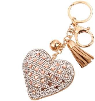 Tassel Keychain, Chinatera Sweet Love Heart Rhinestone Charm Pendant Purse Bag Key Ring Chain Gift