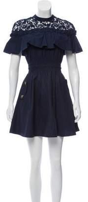 Self-Portrait Lace-Trimmed A-Line Dress