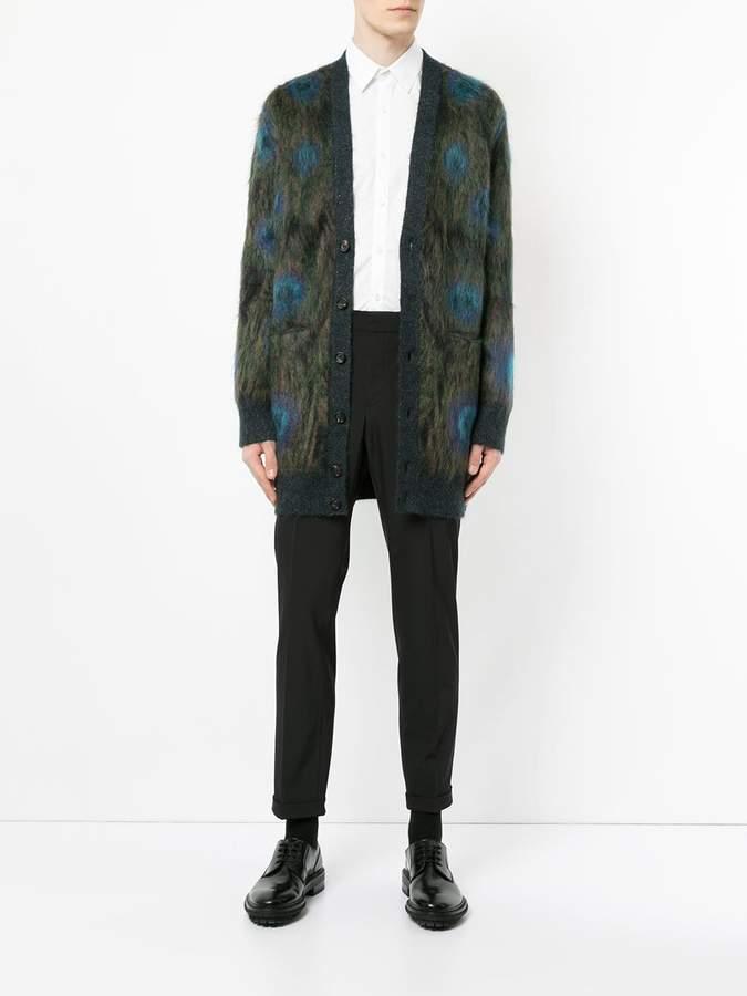 Alexander McQueen Peacock textured v-neck cardigan