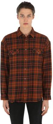 The Kooples Distressed Cotton Plaid Shirt