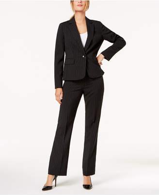 Le Suit Pinstriped One-Button Pantsuit, Regular & Petite