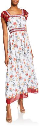Max Studio Floral-Print Flutter-Sleeve Georgette Maxi Dress w\/ Contrast Trim