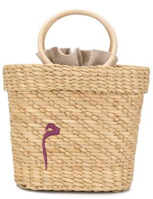 Poolside embroidered woven tote bag