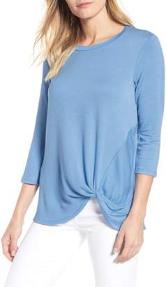 Bobeau Lightweight Twist Hem Top