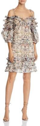 Aqua Balloon-Sleeve Ruffled Floral Dress - 100% Exclusive